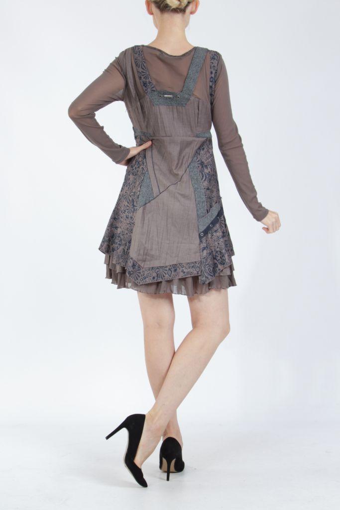 Robe femme courte marron à manches longues Siny 305217