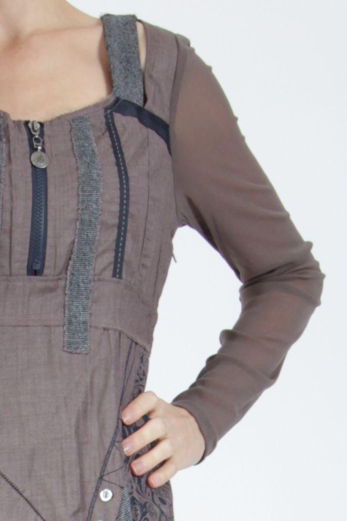 Robe femme courte marron à manches longues Siny 305218