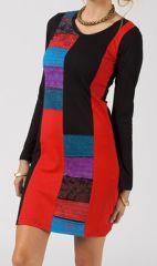 Robe femme courte noire d'automne en patchwork Noella 315007