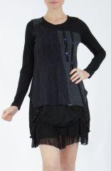 Robe femme courte noire élégante à manches longues Ladyga 304917