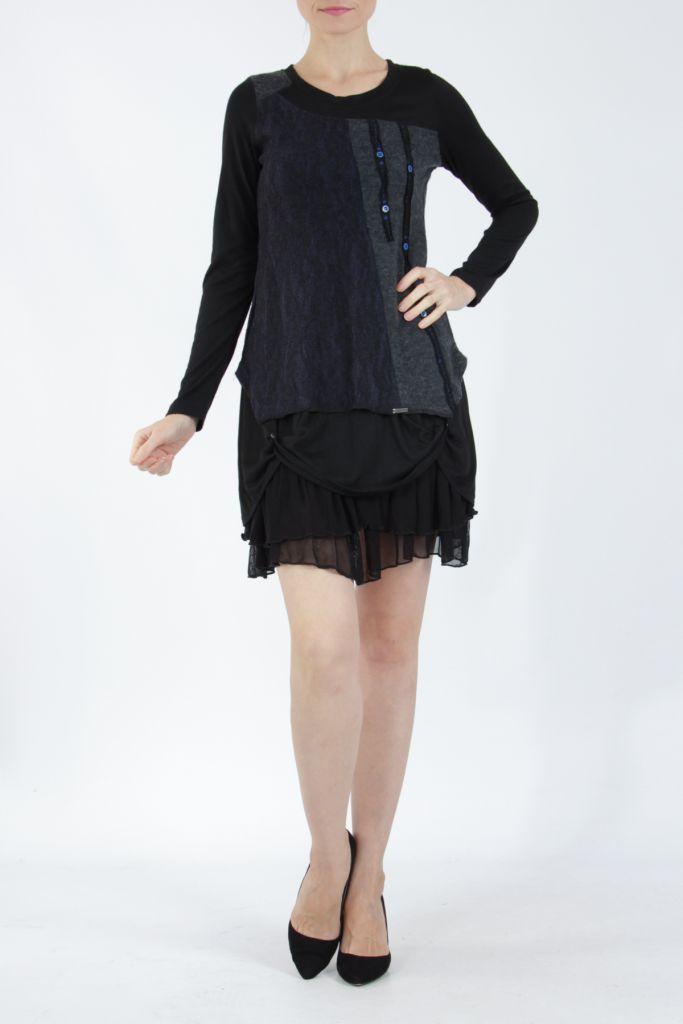 Robe femme courte noire élégante à manches longues Ladyga 304918