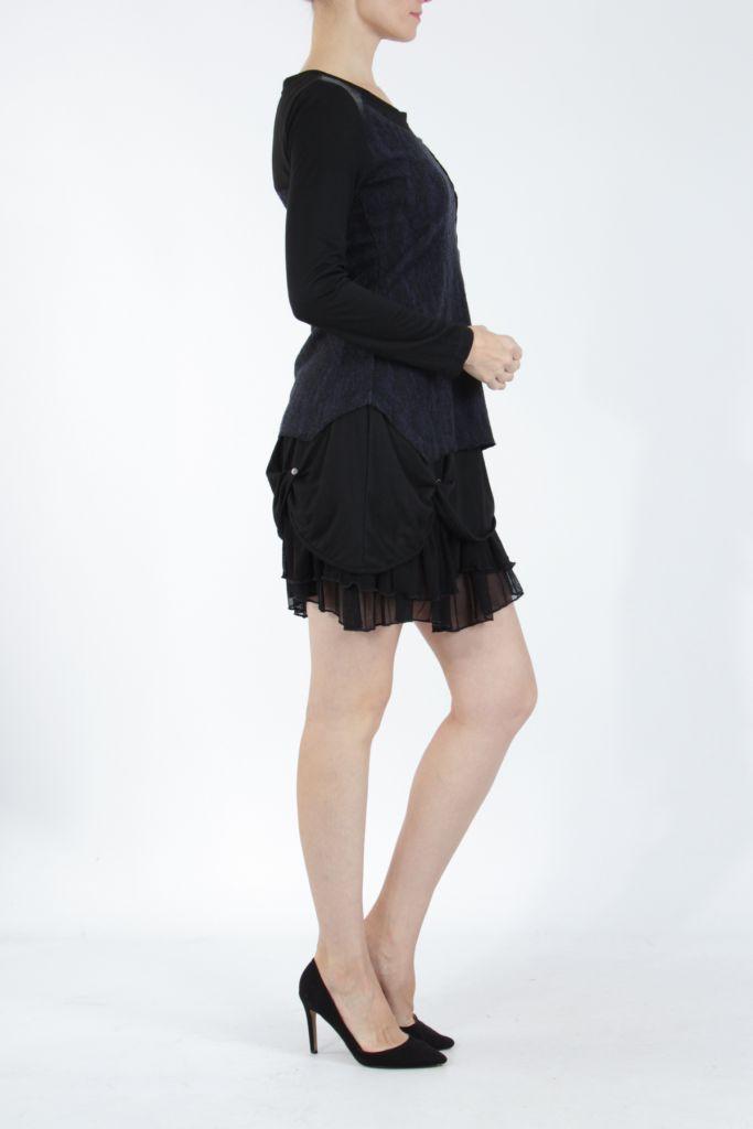 Robe femme courte noire élégante à manches longues Ladyga 304919