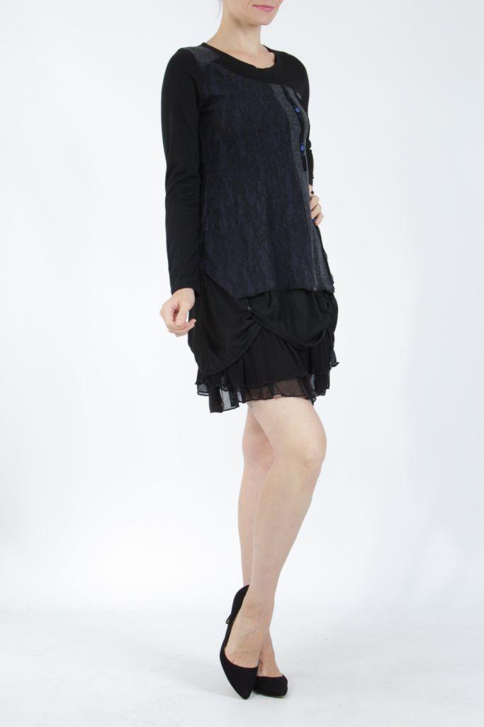 Robe femme courte noire élégante à manches longues Ladyga 304920