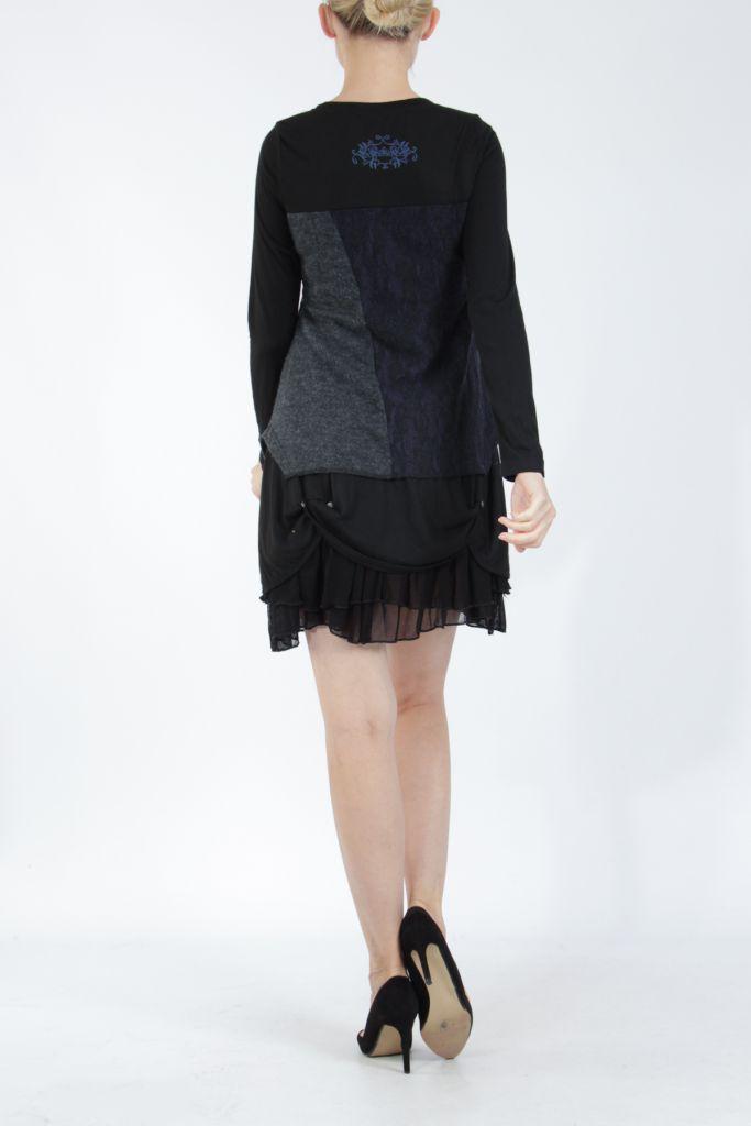 Robe femme courte noire élégante à manches longues Ladyga 304921