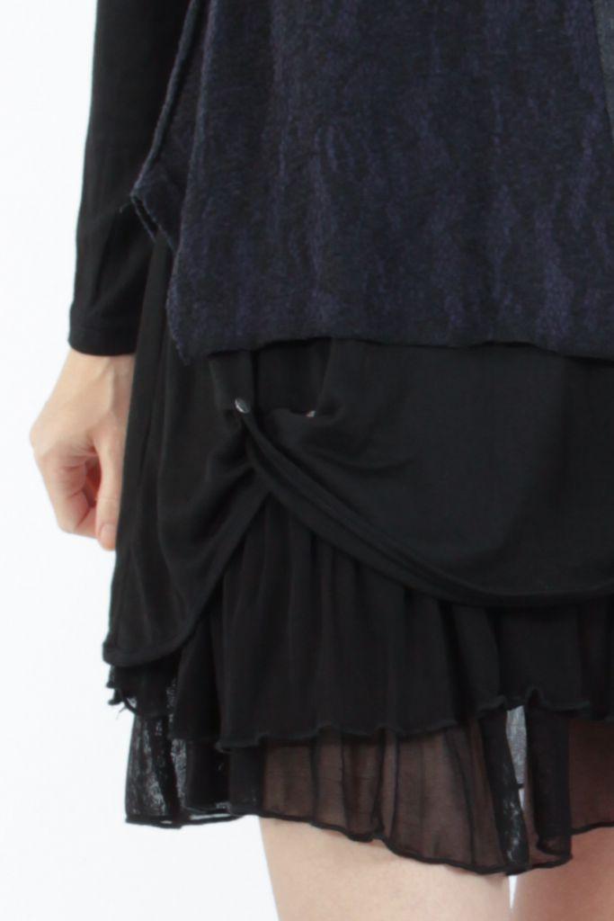 Robe femme courte noire élégante à manches longues Ladyga 304922