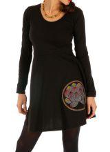 Robe femme courte noire ethnique à effet volanté Dindri 313928