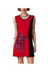 Robe femme courte sans manches noire et rouge Printis 315084