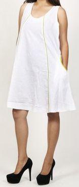Robe femme d'été originale - forme trapèze - Blanche - Carlitta 272039