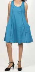 Robe femme d'été originale - forme trapèze - Bleue - Carlitta 272041