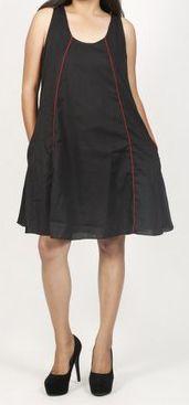 Robe femme d'été originale - forme trapèze - Noire - Carlitta 272045