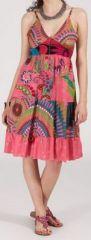 Robe femme d'été originale à col V - fines bretelles - Rosa 271833