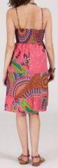 Robe femme d'été originale à col V - fines bretelles - Rosa 271834