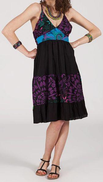 Robe femme d'été originale à col V -fines bretelles - Amber 271835