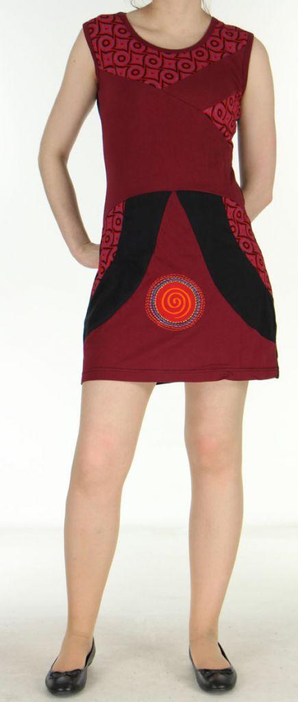 Robe femme d'été rouge du Népal style ethnique Muriela 270418