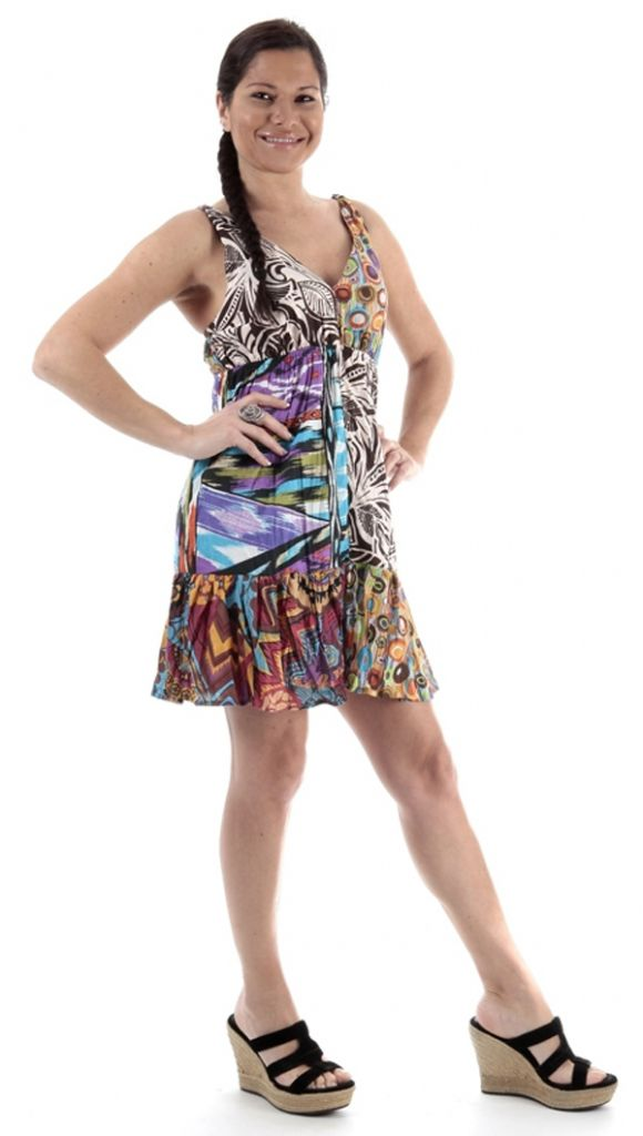 Robe femme été pas cher imprimé coloré Tiffou 314941