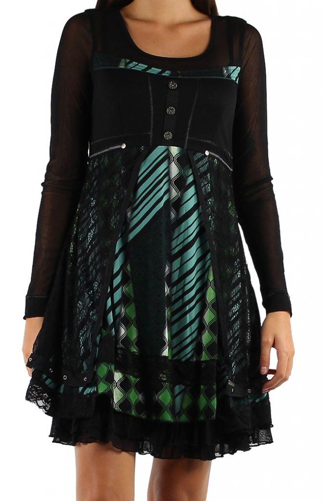 robe femme ethnique chic avec de la dentelle Loumi 304368