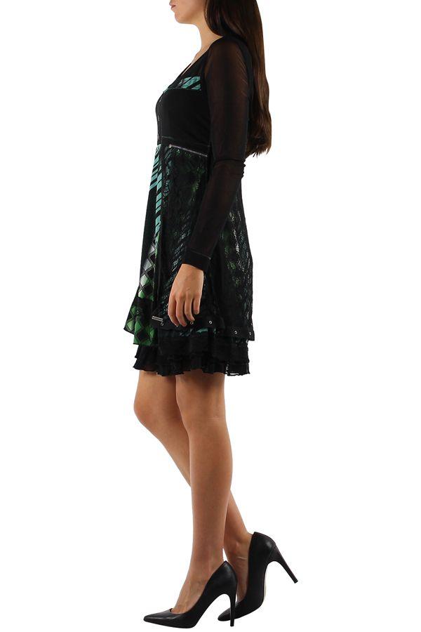 robe femme ethnique chic avec de la dentelle Loumi 304370