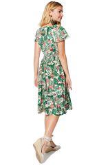 Robe femme évasée d\'été en coton imprimé fleurs tropicales Inga