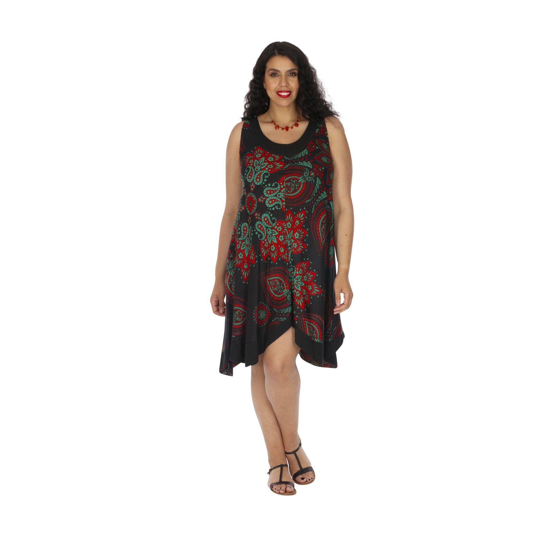 Robe femme grande taille été ethnique et asymétrique Inclas