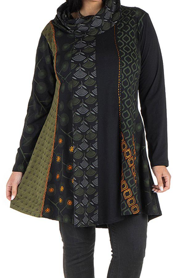 Robe femme grande taille ethnique et original à panneaux brodés Crolyn 302183