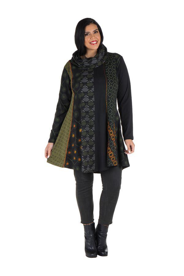 Robe femme grande taille ethnique et original à panneaux brodés Crolyn 302184