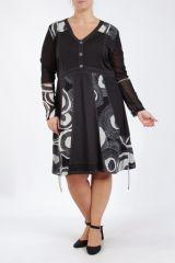Robe femme grande taille noire originale et chic Pops 305302