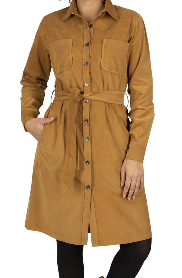 Robe femme hiver à col chemise en velours Nyanza
