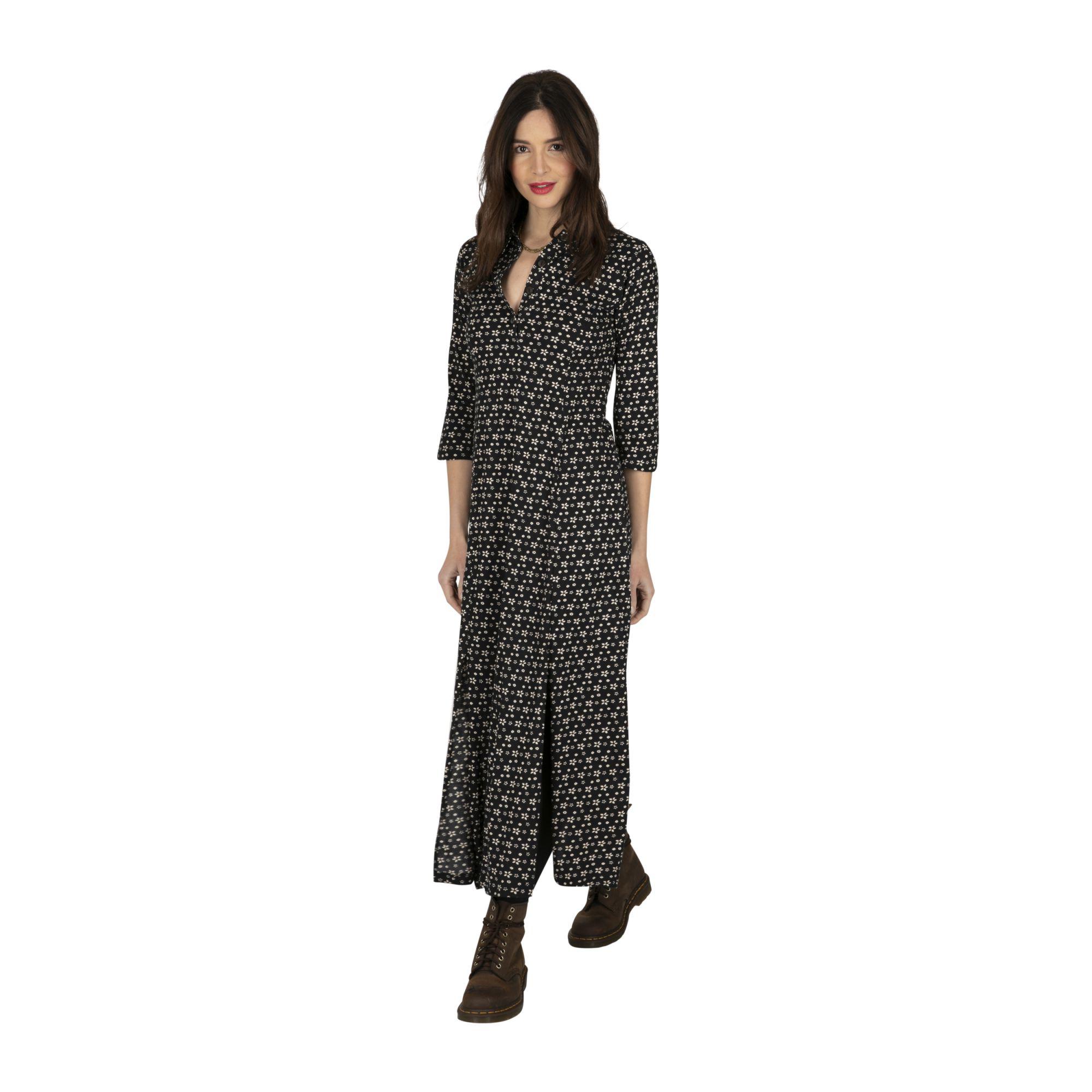 Robe femme longue noire à fleurs aux manches 3/4 Cuency