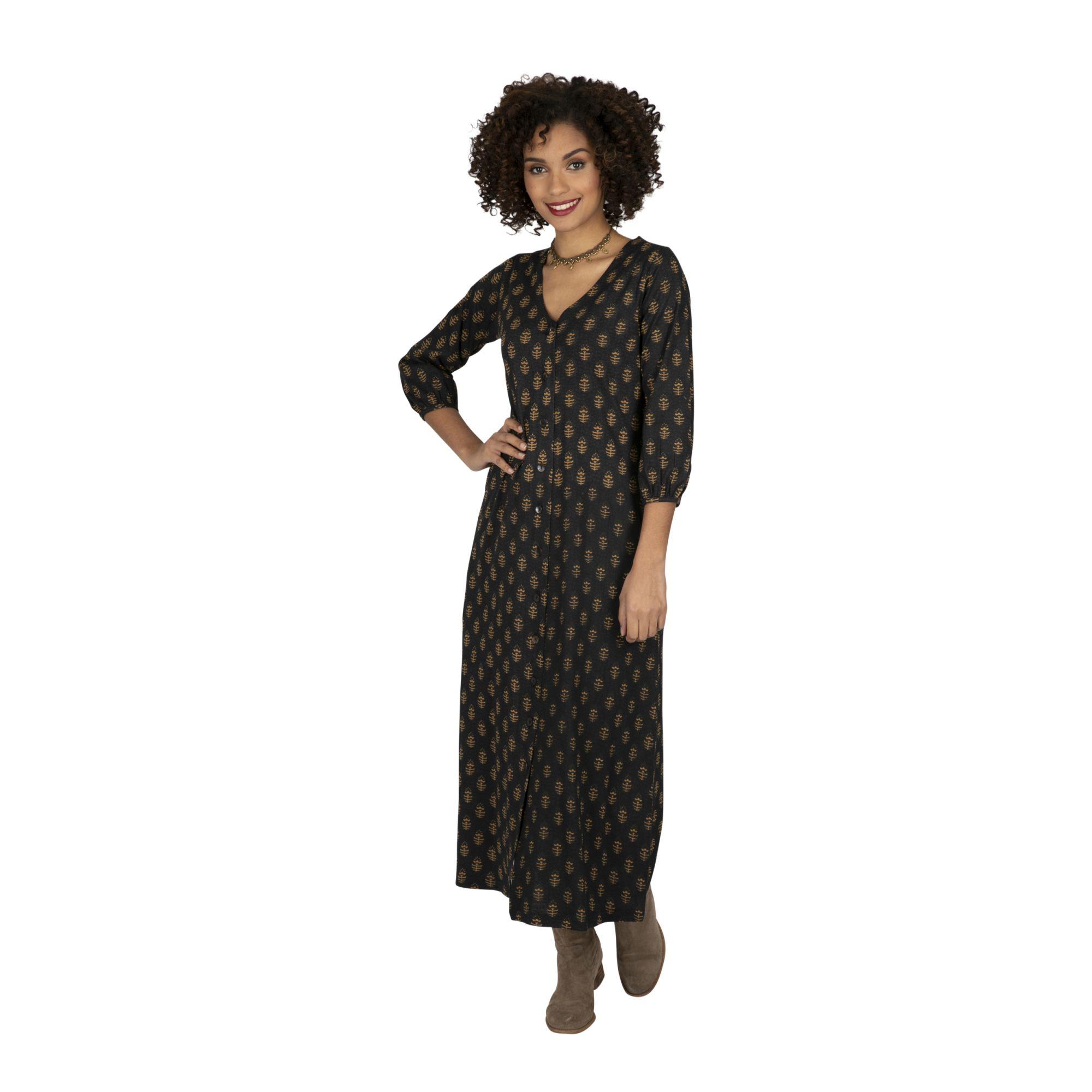 Robe femme longue noire et gold habillée au col V Machala