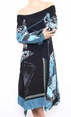 Robe femme longue originale et colorée Bleue Lilou 302760