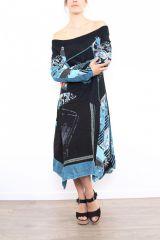 Robe femme longue originale et colorée Bleue Lilou 302761