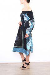 Robe femme longue originale et colorée Bleue Lilou 302762