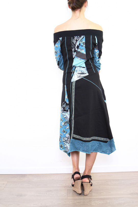 Robe femme longue originale et colorée Bleue Lilou 302763