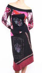 Robe femme longue originale et colorée Lilou rose 302773