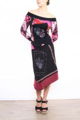 Robe femme longue originale et colorée Lilou rose 302774