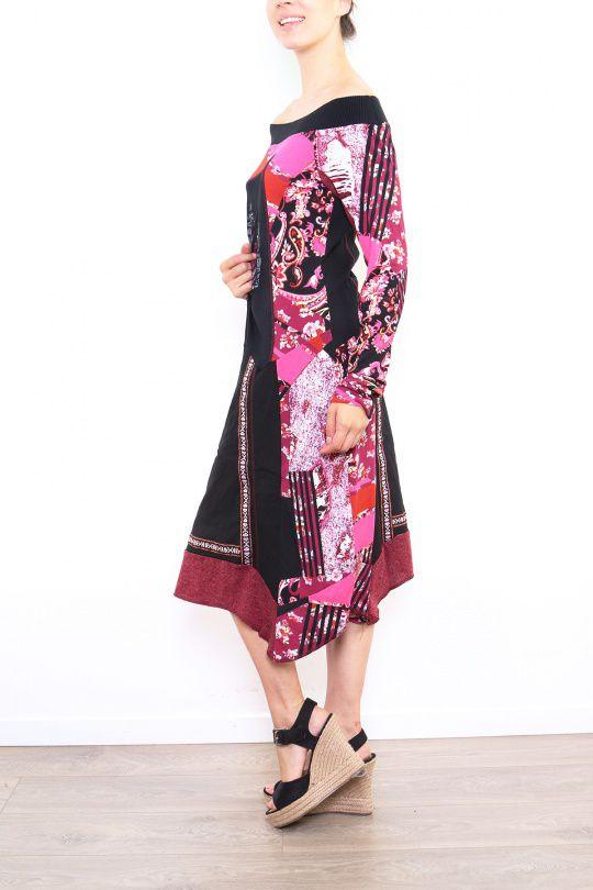 Robe femme longue originale et colorée Lilou rose 302775