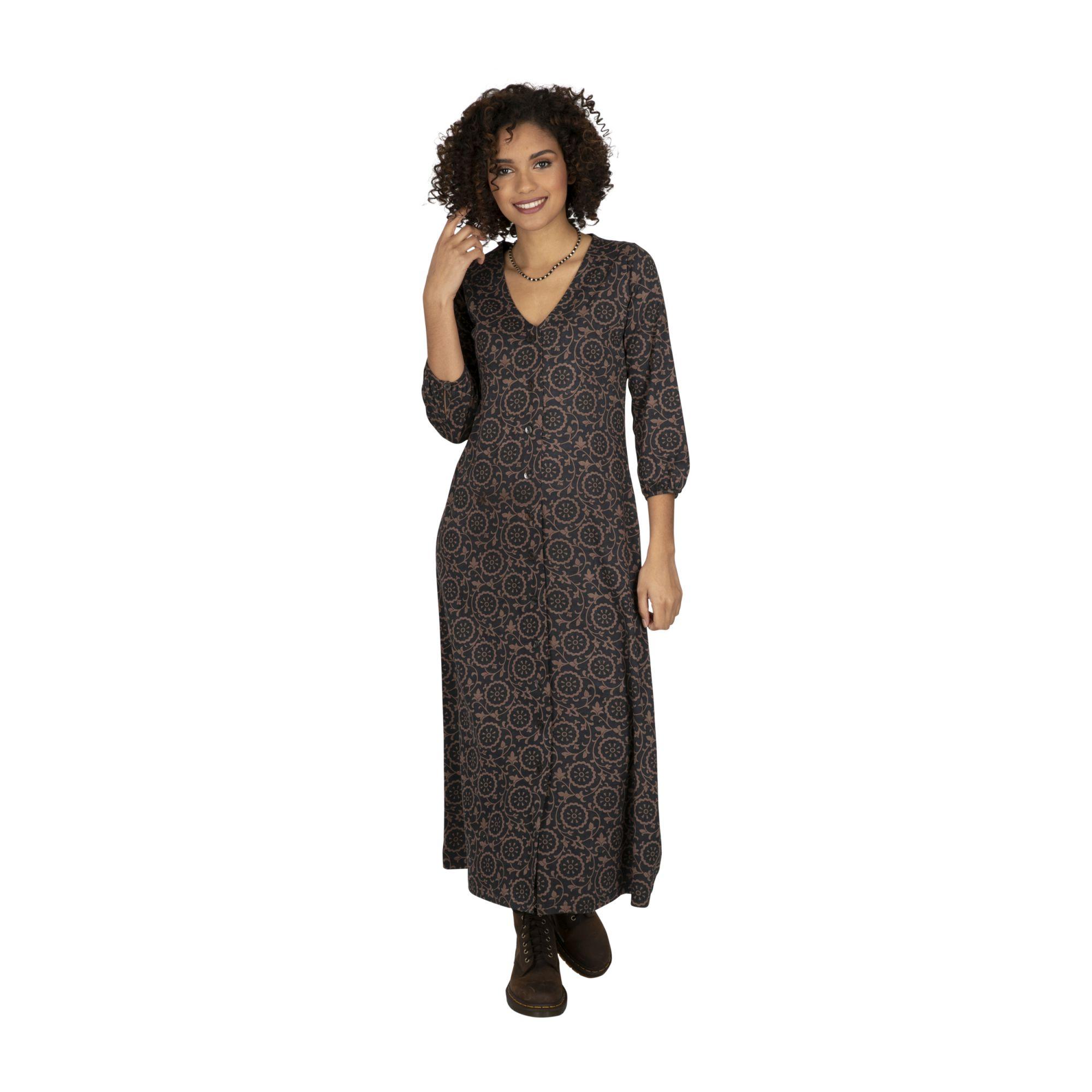 Robe femme longue tendance bohème noire Machalou
