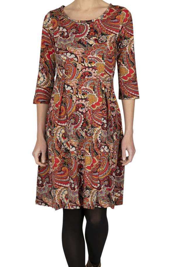 Robe femme manches 3/4 bohème colorée Rosalio