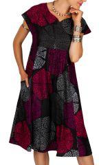 Robe femme mi-longue à pois avec une coupe évasée Elyn 306613