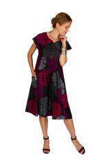 Robe femme mi-longue à pois avec une coupe évasée Elyn 306614
