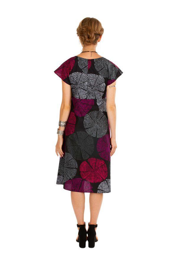 Robe femme mi-longue à pois avec une coupe évasée Elyn 306615