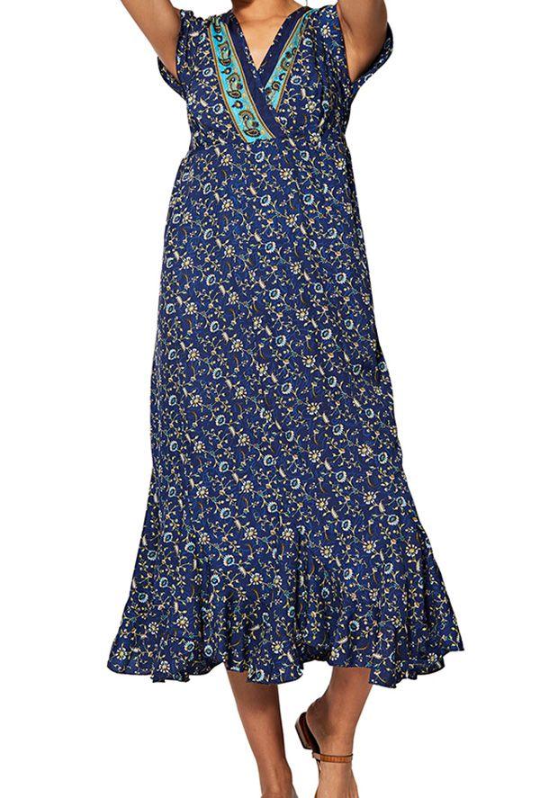 Robe femme mi-longue et légère imprimé fleurs Justyna