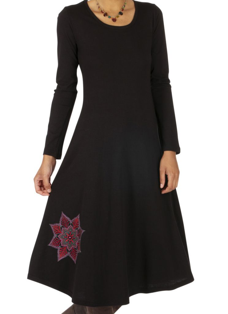get online the latest clearance sale Robe noire femme mi longue bohème chic originale Bambari