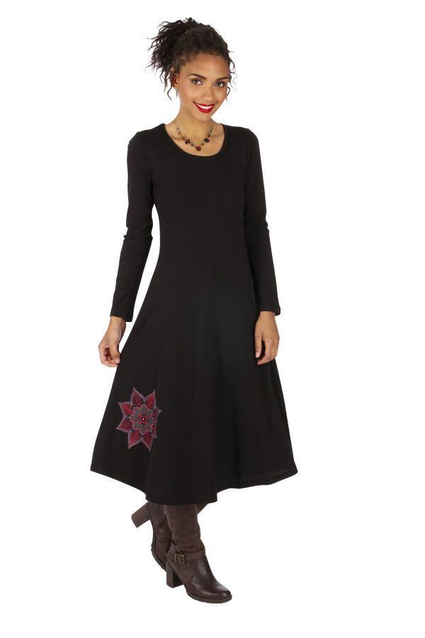 Robe femme mi-longue ethnique et chic du Népal Bambari 313863
