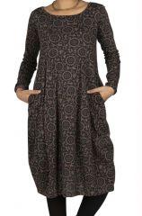 Robe femme mi longue noire avec imprimé bohème Margueret