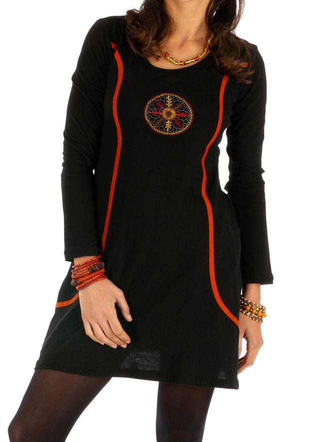 Robe femme mi longue noire ethnique Miranda 312846