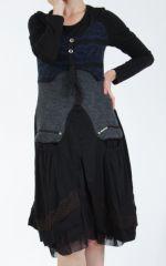 Robe femme noire et bleue pour un look bohème ethnique et chic Gélimi 304811
