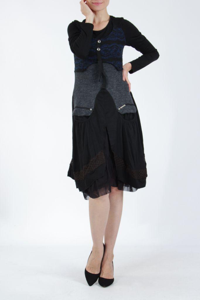 Robe femme noire et bleue pour un look bohème ethnique et chic Gélimi 304812