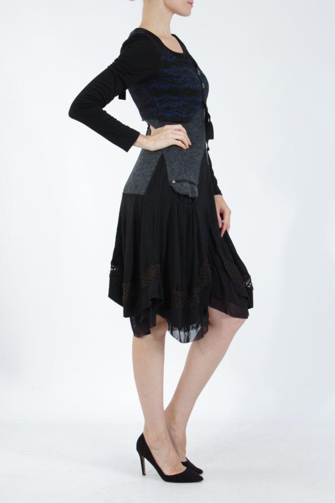 Robe femme noire et bleue pour un look bohème ethnique et chic Gélimi 304813