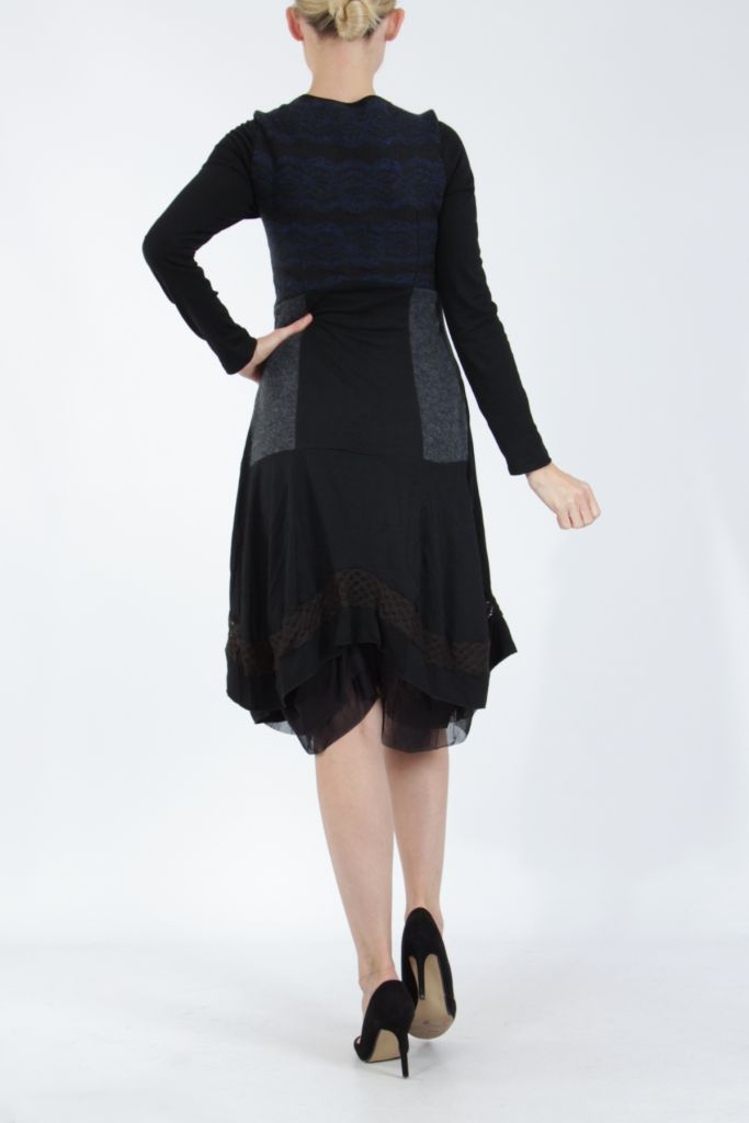 Robe femme noire et bleue pour un look bohème ethnique et chic Gélimi 304814